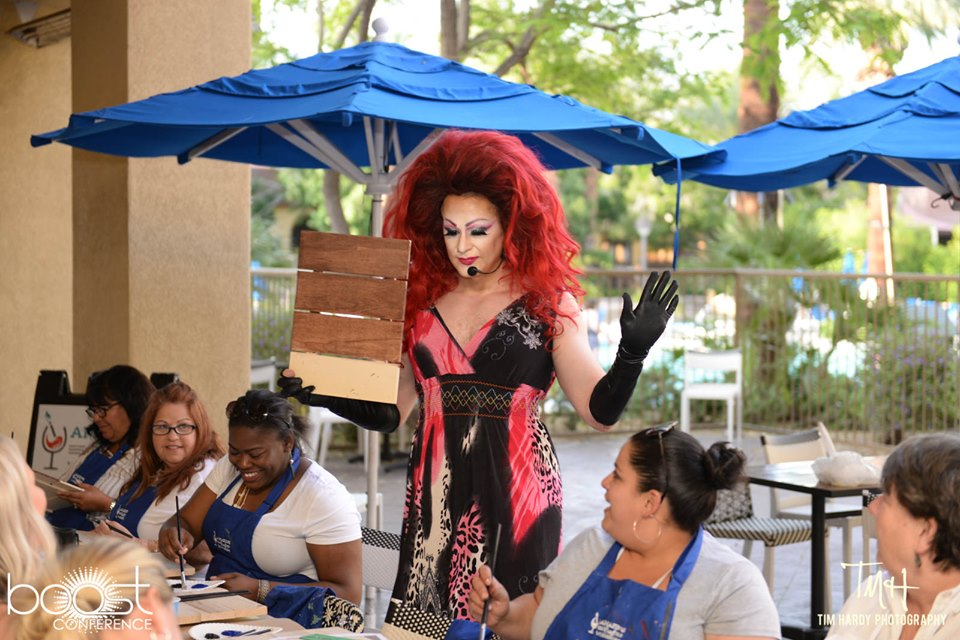 BOOST Conference hosts Think Red paint night with Drag queen artist Xrystal