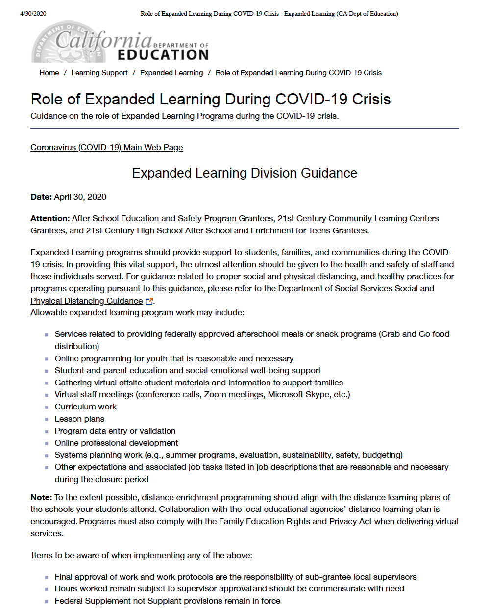 Role of Expanded Learning During COVID 19 Crisis